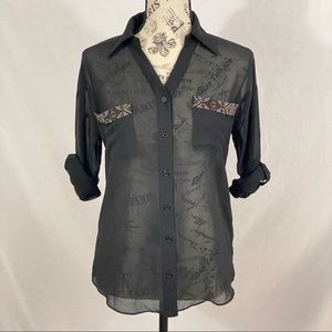 Moonlight Sheer Black Button Up Size Small